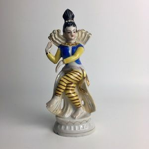 Vintage Hindu Dancer Ceramic Figurine Statue